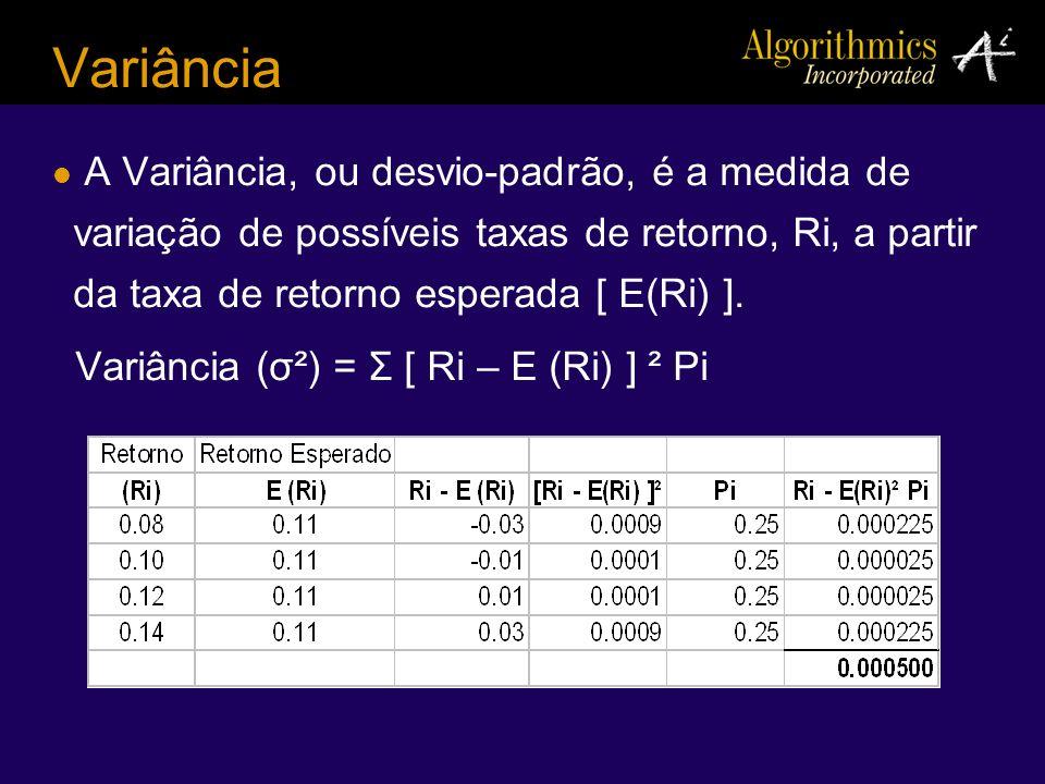 Variância A Variância, ou desvio-padrão, é a medida de variação de possíveis taxas de retorno, Ri, a partir da taxa de retorno esperada [ E(Ri) ].